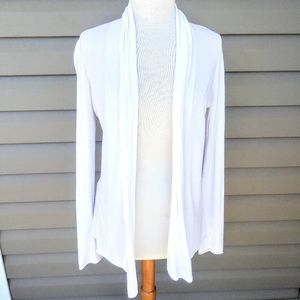Express White Open Front Cardigan Sweater LG